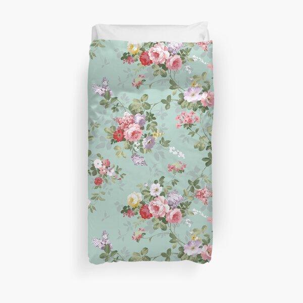 Motif floral élégant de roses roses vintage Housse de couette
