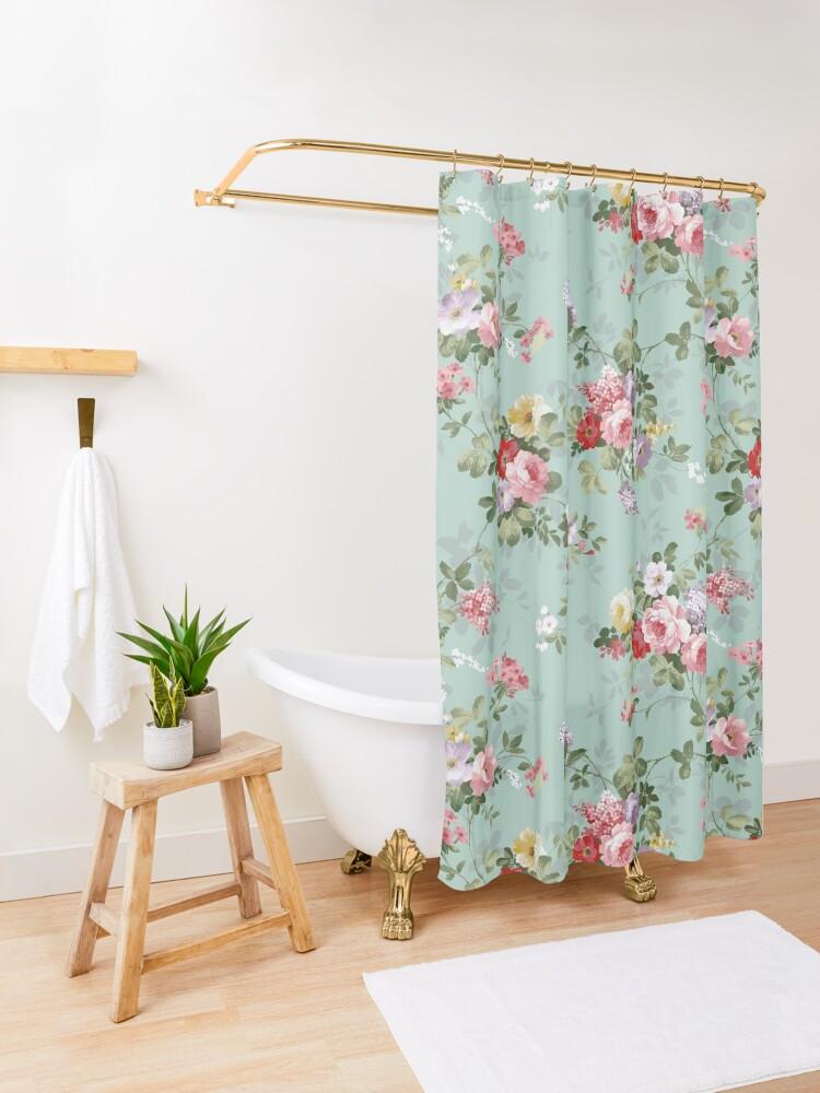 Alternate view of Elegant vintage pink roses floral pattern  Shower Curtain
