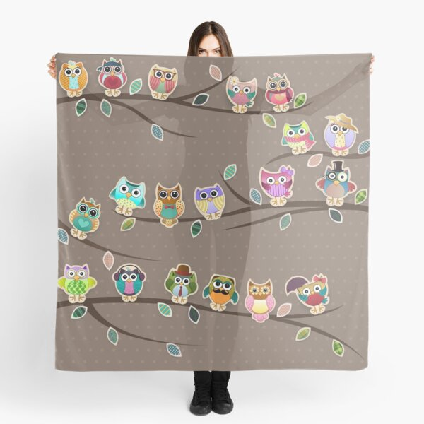 Cute Little Owls on a Branch with Polka Dots Scarf