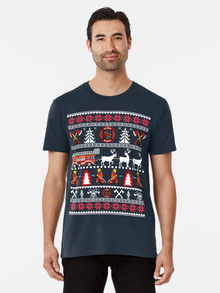 Firefighter Christmas Shirt.Firefighter Ugly Christmas Sweater Fireman Fire Department Christmas Shirt Premium T Shirt By Mrsmitful