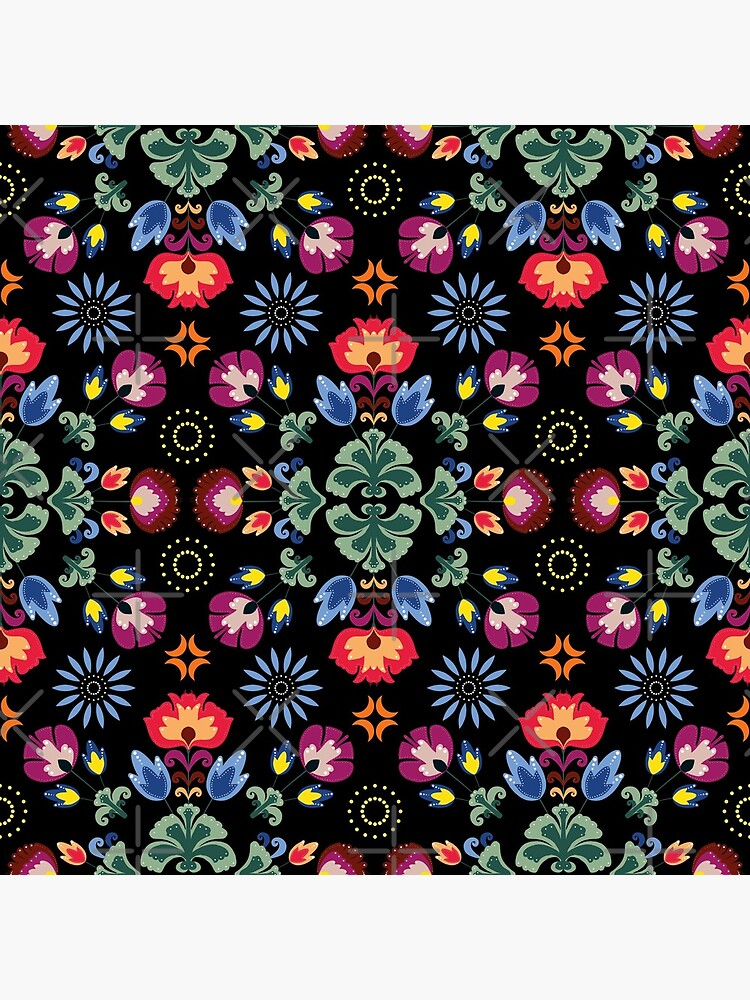 Fiesta Folk Black #redbubble #folk by designdn