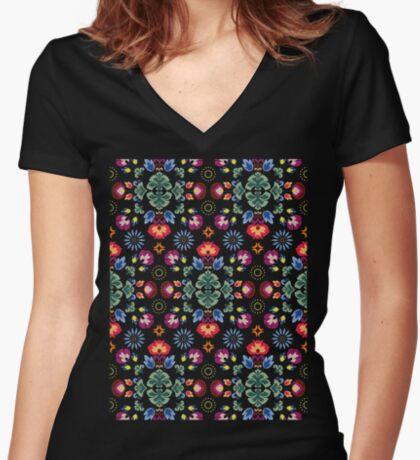 Fiesta Folk Black #redbubble #folk Fitted V-Neck T-Shirt
