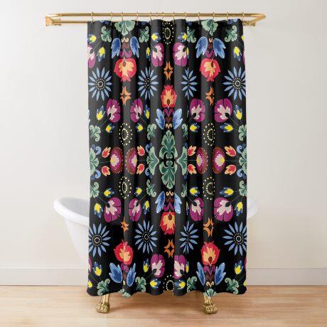 Fiesta Folk Black #redbubble #folk Shower Curtain