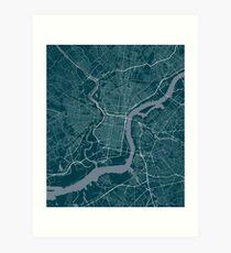 Philadelphia Map In Eagles Colors Art Print