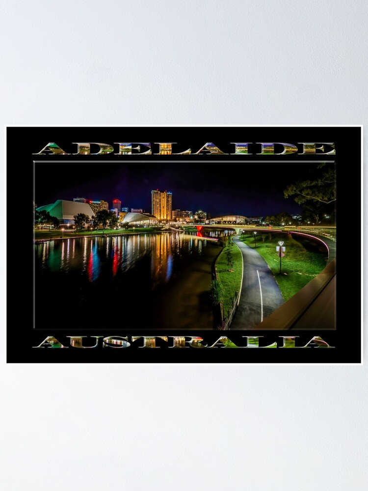 Alternate view of Adelaide Riverbank at Night IV (poster on black) Poster
