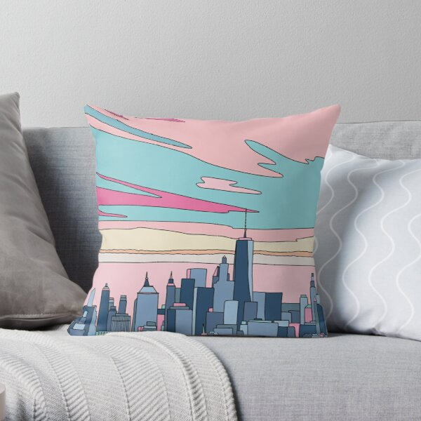 City sunset by Elebea Throw Pillow