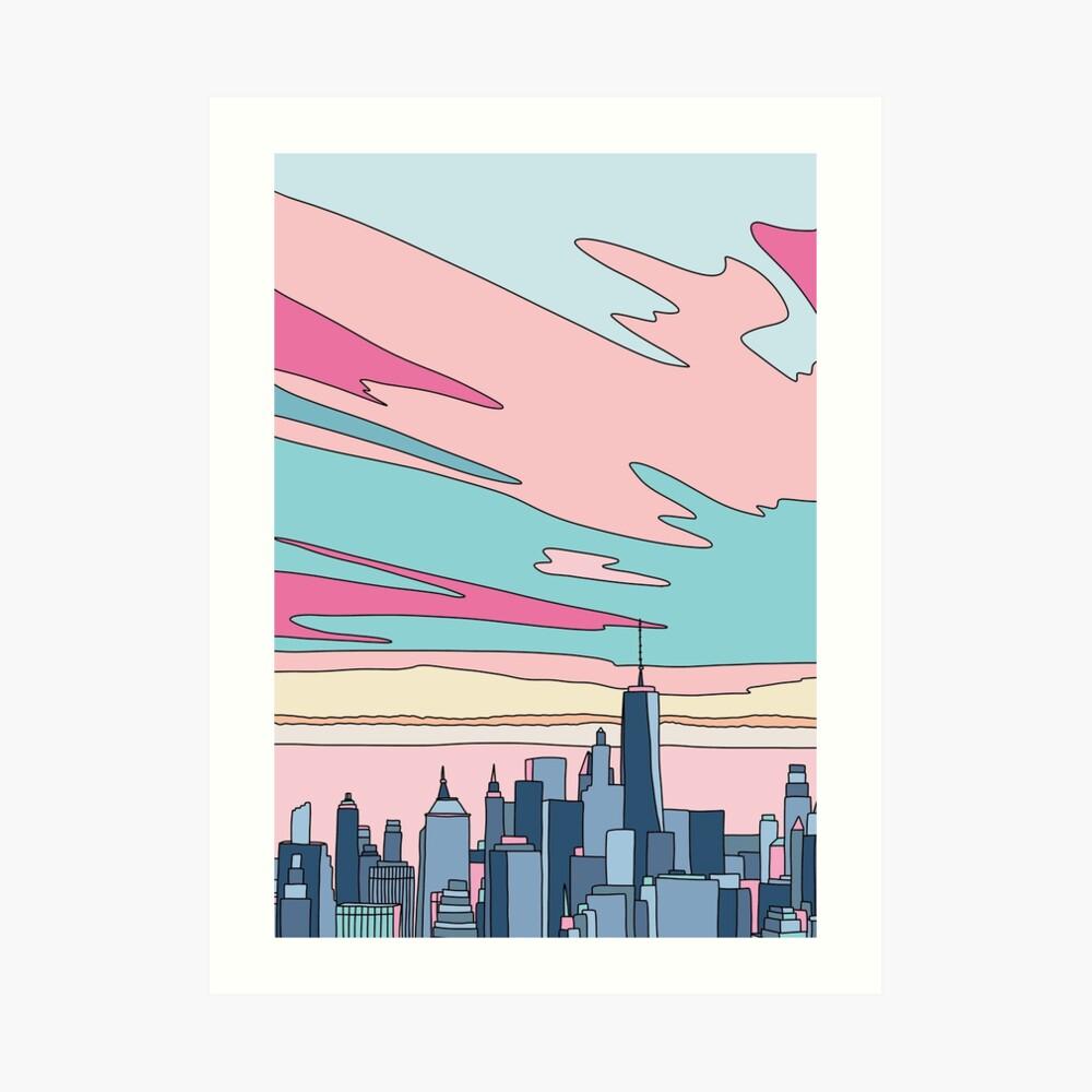 Stadtsonnenuntergang bei Elebea Kunstdruck