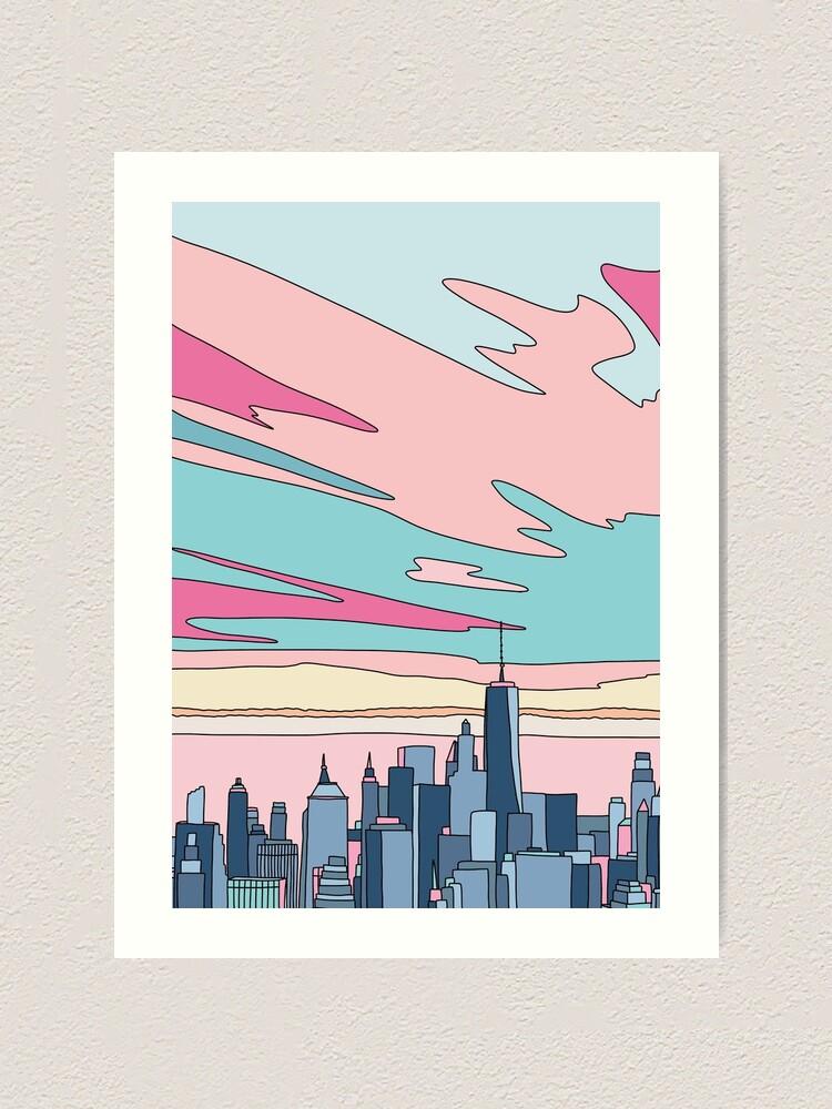 Alternate view of City sunset by Elebea Art Print