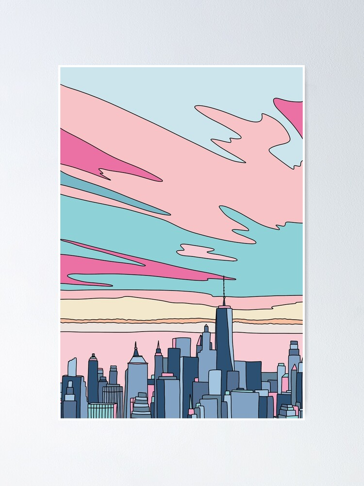 Alternate view of City sunset by Elebea Poster
