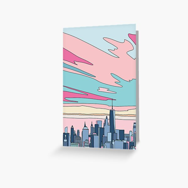 City sunset by Elebea Greeting Card