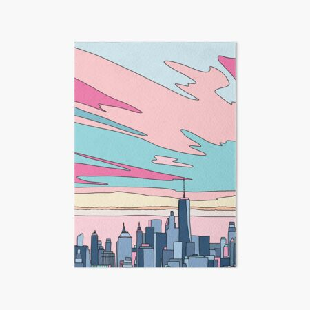 City sunset by Elebea Art Board Print