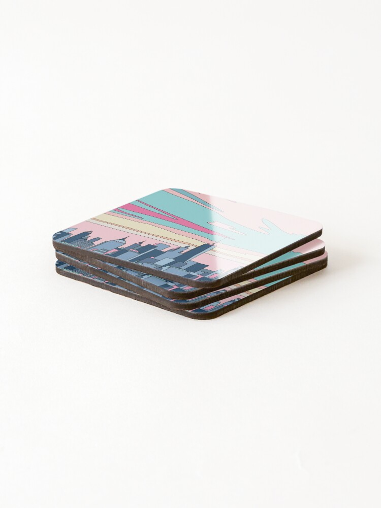 Alternate view of City sunset by Elebea Coasters (Set of 4)