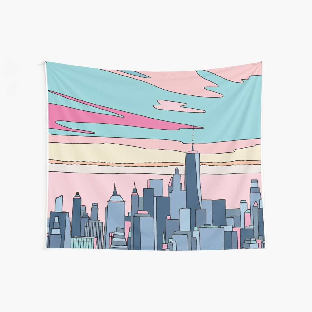 City sunset by Elebea Wall Tapestry