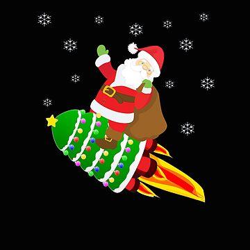 Funny Santa Riding Christmas Tree Rocket  by VaSkoy