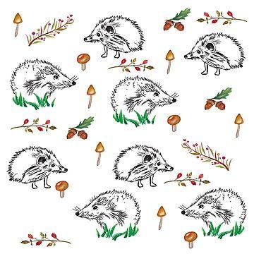 Hedgehogs Autumn Pattern  by Manitarka