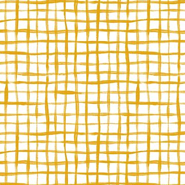 Loose Weave Hand Painted Check Pattern in Mustard Yellow and White by micklyn