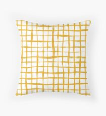 Loose Weave Hand Painted Check Pattern in Mustard Yellow and White Floor Pillow