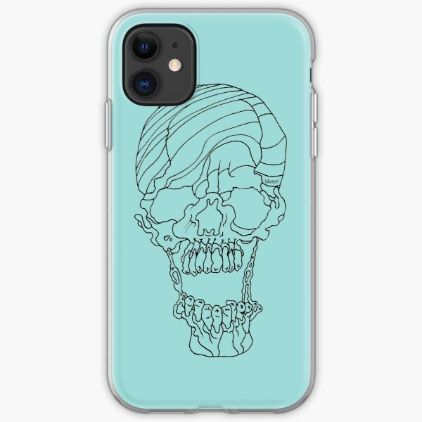 Candy Striped Skull in Ink iPhone Soft Case