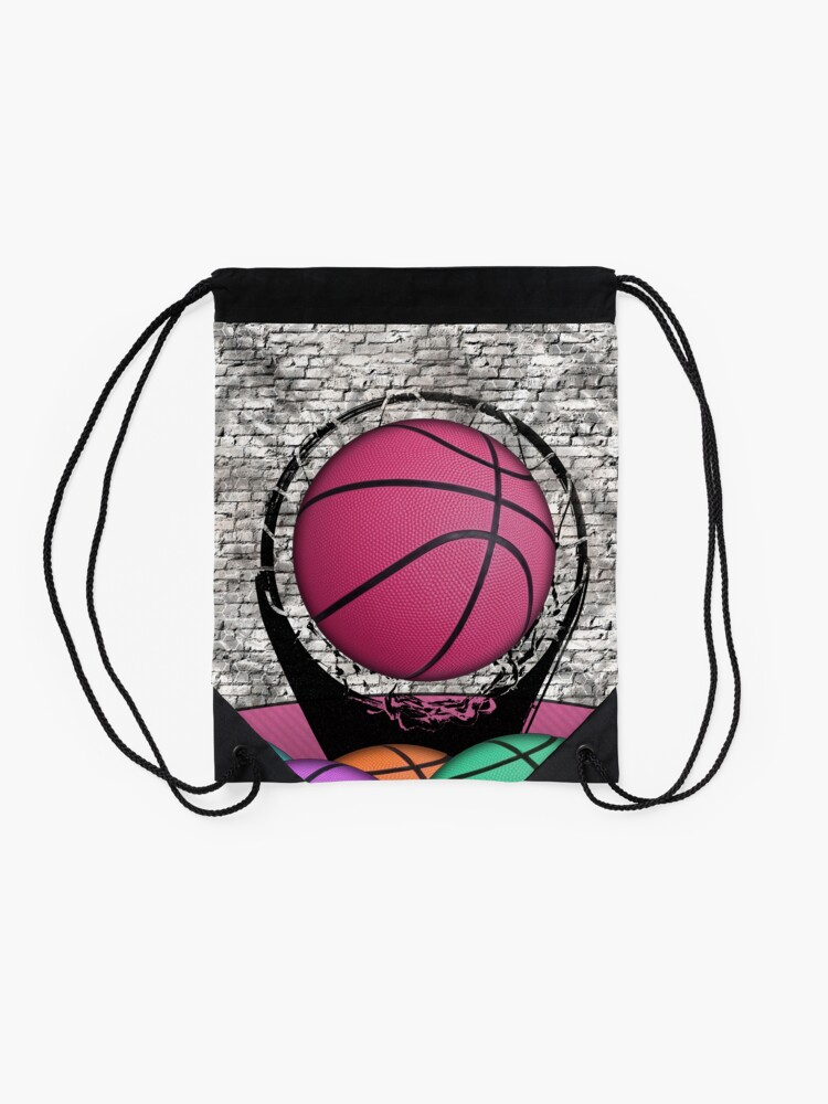 Alternate view of Colorful Basketballs Urban Grunge Hoop Drawstring Bag