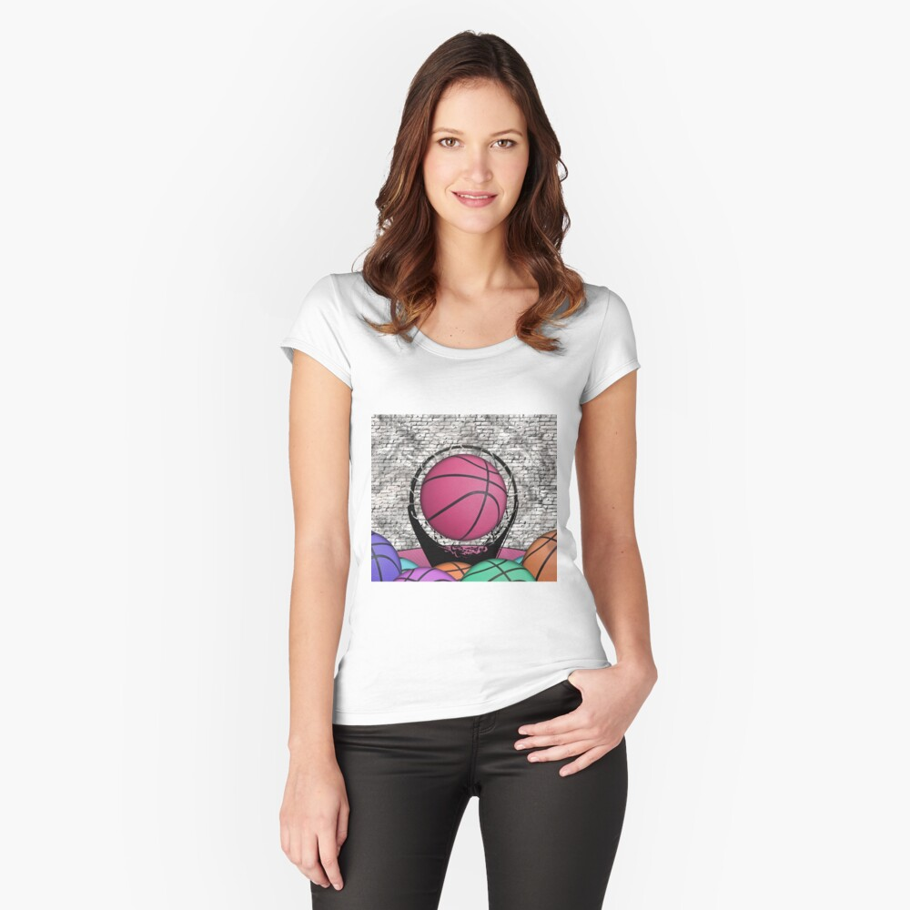 Colorful Basketballs Urban Grunge Hoop Fitted Scoop T-Shirt