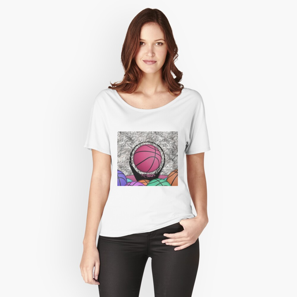 Colorful Basketballs Urban Grunge Hoop Relaxed Fit T-Shirt