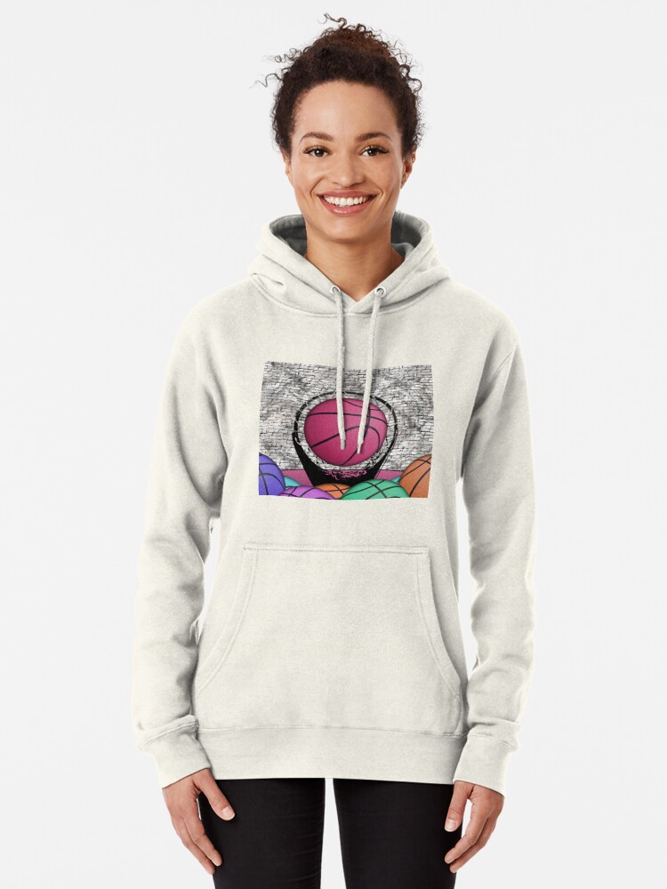 Alternate view of Colorful Basketballs Urban Grunge Hoop Pullover Hoodie