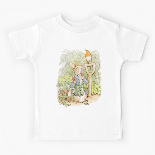PETER RABBIT, Nursery Characters, Peter Rabbit, eating radishes, The Tale of Peter Rabbit. Kids T-Shirt
