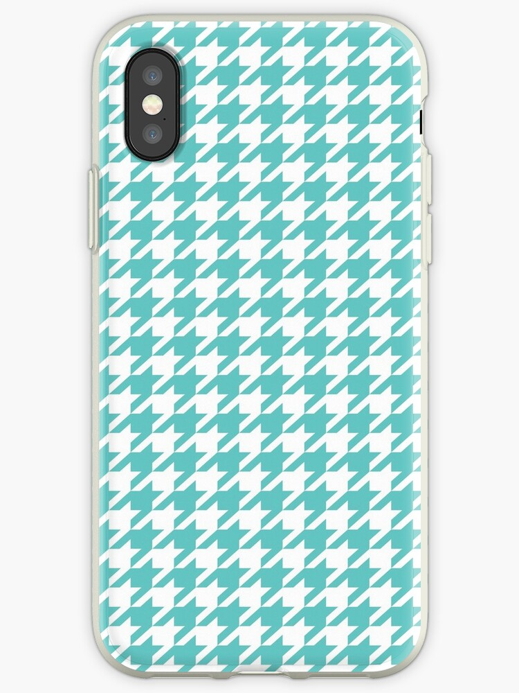 Turquoise Blue Houndstooth Pattern Design Iphone Case By Skylinesquirrel
