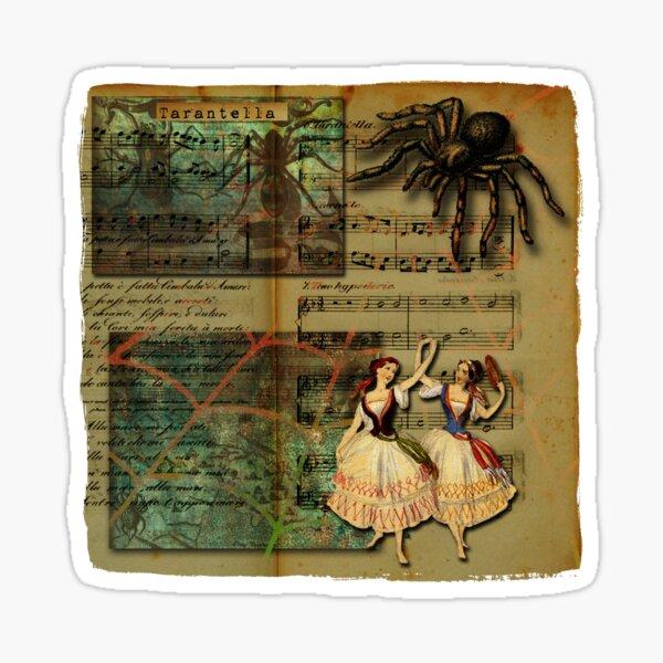 Tarantella Dancers And Tarantula Spider With Web On Cream Background  Sticker