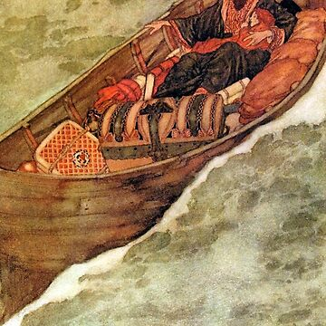 Prospero and Miranda in the Boat - The Tempest - Edmund Dulac by forgottenbeauty