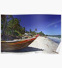Fishing Boat on White-sand Beach (Vietnam) Poster