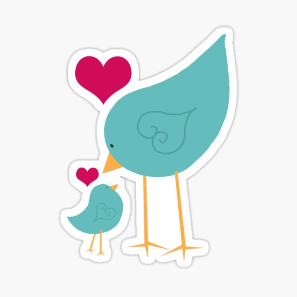 Momma and Baby Bird Love Sticker