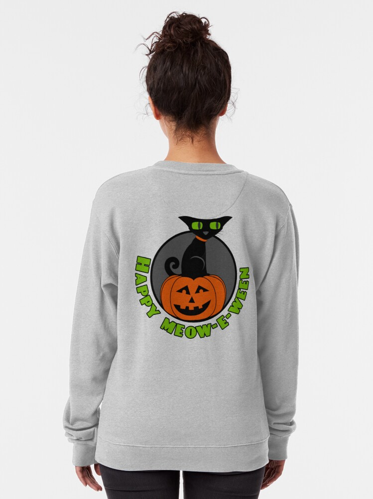 Alternate view of Midnight - Happy Meow-e-ween Pullover Sweatshirt