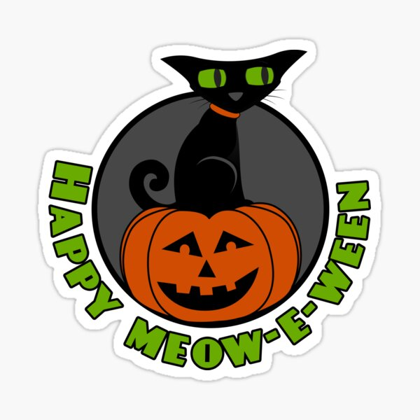 Midnight - Happy Meow-e-ween Sticker
