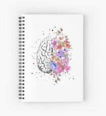Cuaderno de espiral Anatomía del cerebro, cerebro de acuarela, cerebro de flores, cerebro con flores