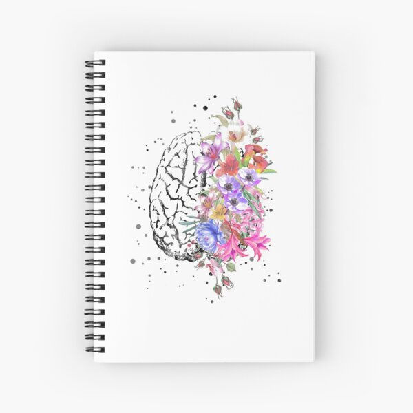 Brain anatomy,  watercolor Brain, flowers brain, brain with Flowers Spiral Notebook