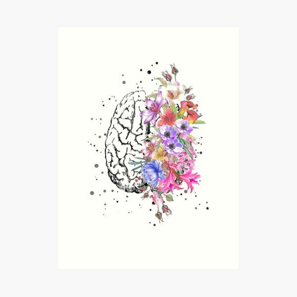 Brain anatomy,  watercolor Brain, flowers brain, brain with Flowers Art Print