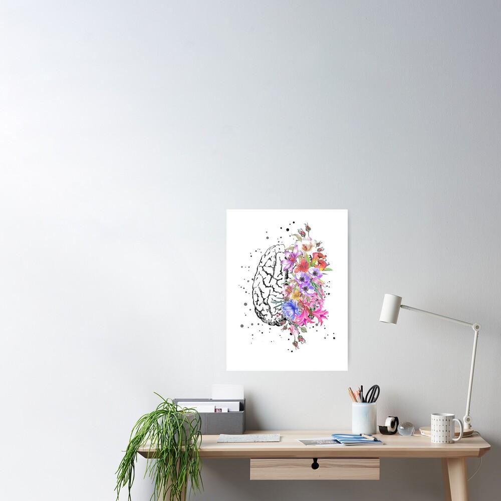 Brain anatomy,  watercolor Brain, flowers brain, brain with Flowers Poster