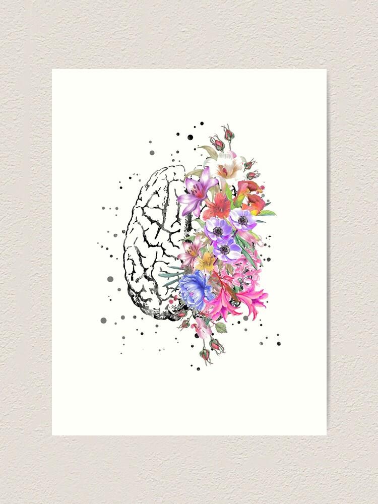 Alternate view of Brain anatomy,  watercolor Brain, flowers brain, brain with Flowers Art Print