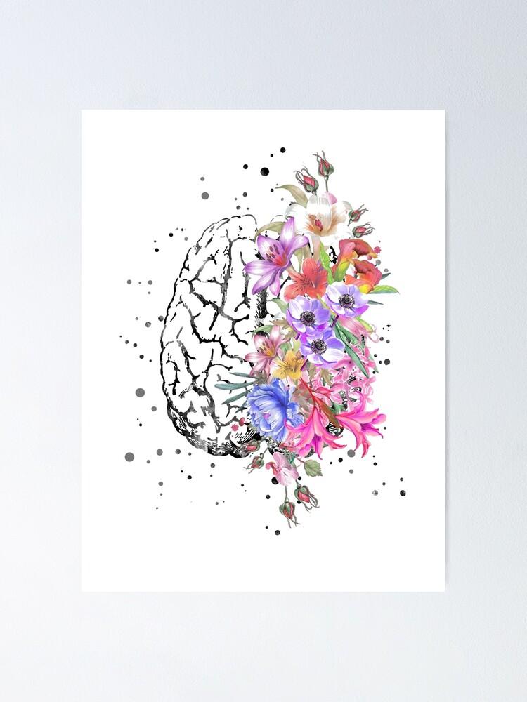 Alternate view of Brain anatomy,  watercolor Brain, flowers brain, brain with Flowers Poster