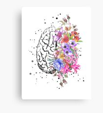Brain anatomy,  watercolor Brain, flowers brain, brain with Flowers Canvas Print