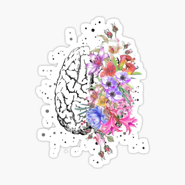 Brain anatomy,  watercolor Brain, flowers brain, brain with Flowers Sticker