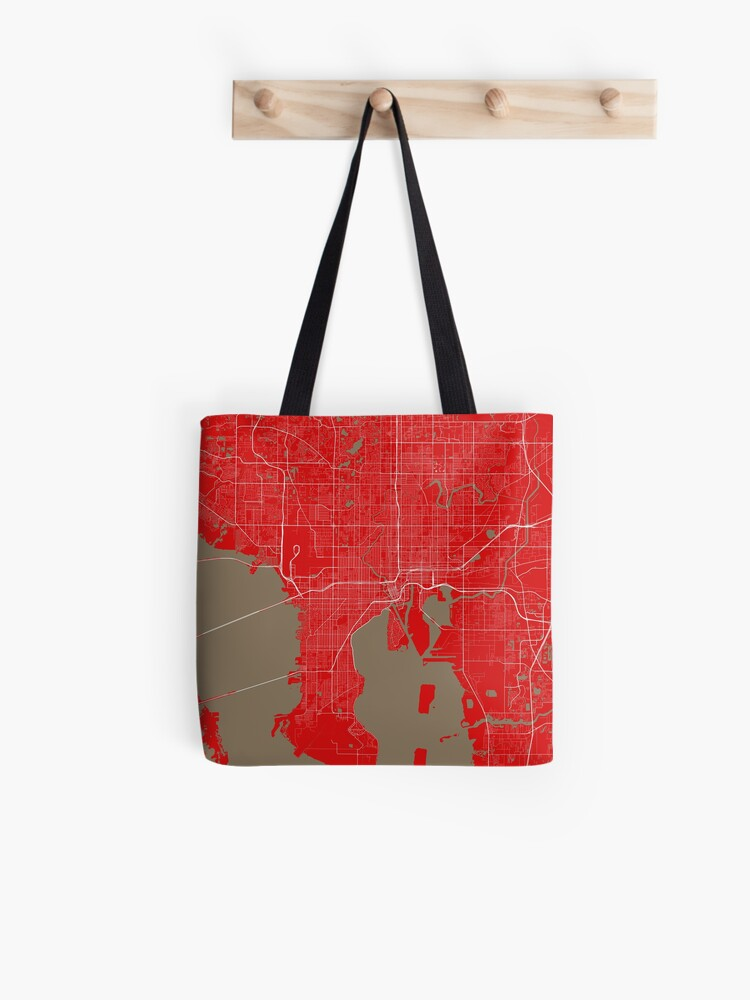 Tampa Bay Map In Buccaneers Colors Tote Bag By Luvfrumabuv Redbubble