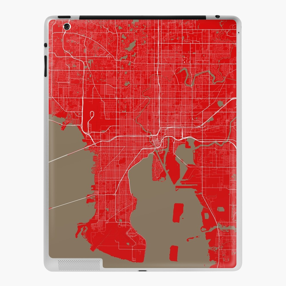 Tampa Bay Map In Buccaneers Colors Ipad Case Skin By Luvfrumabuv Redbubble