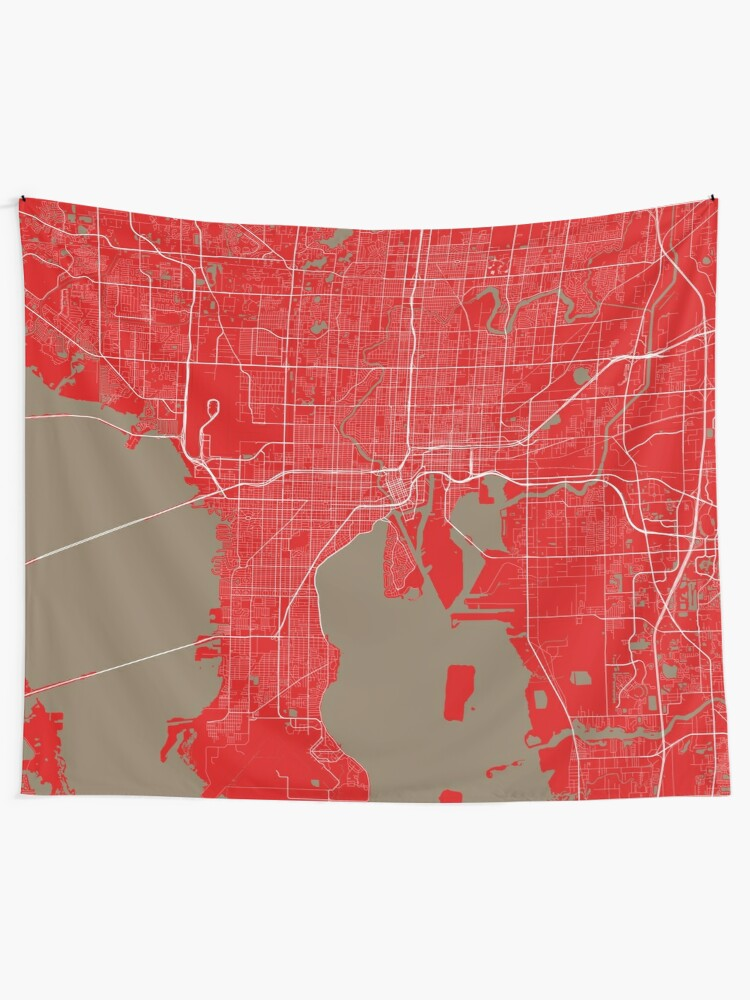 Tampa Bay Map In Buccaneers Colors Tapestry By Luvfrumabuv Redbubble