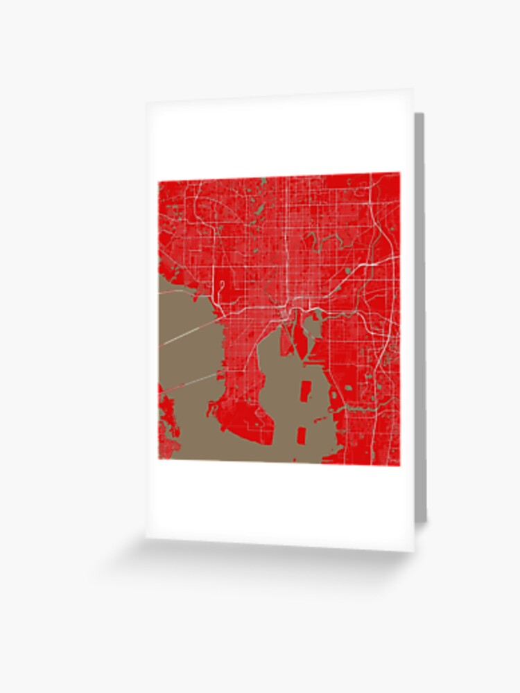 Tampa Bay Map In Buccaneers Colors Greeting Card By Luvfrumabuv Redbubble