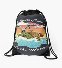 A Turtle Made it to the Water! Drawstring Bag