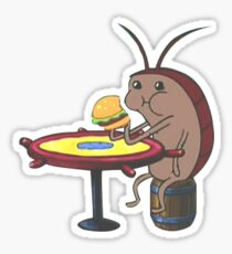 Cockroach eating krabby patty  Sticker
