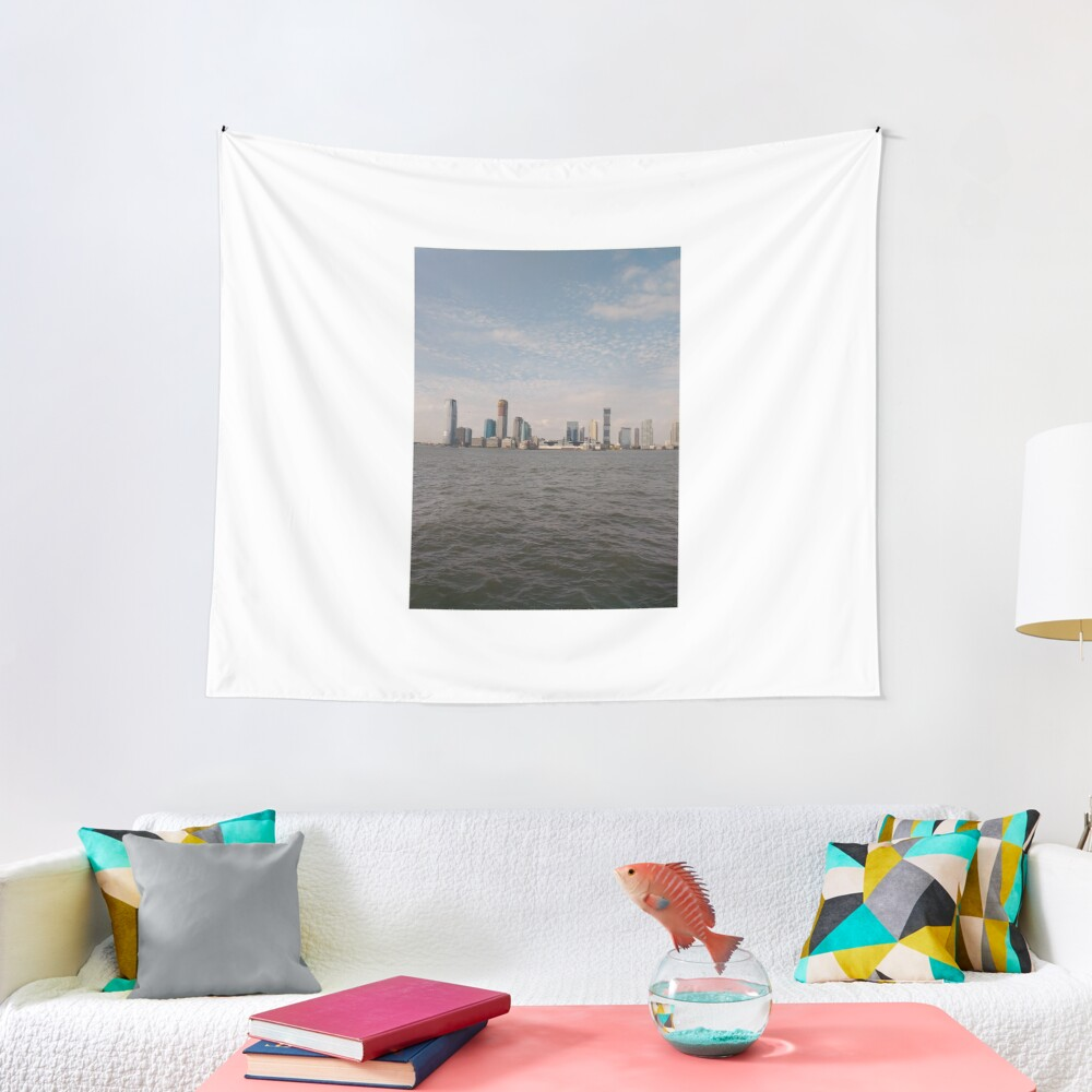 #skyline, #city, #water, #buildings, #urban, #sky, #architecture, #cityscape, #building, #skyscraper, #newyork, #downtown, #manhattan, #blue, #panorama, #river, #view, #usa, #skyscrapers Tapestry