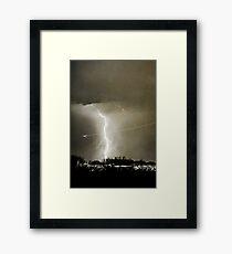Lightning Strike - City Lights - Jett  II B&W Framed Print